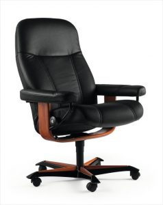 Consul office chair paloma black wood teak