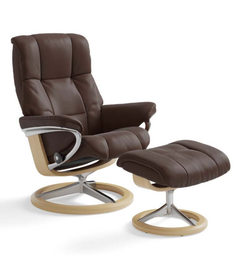 Stressless Mayfair recliner paloma chocolate signature base
