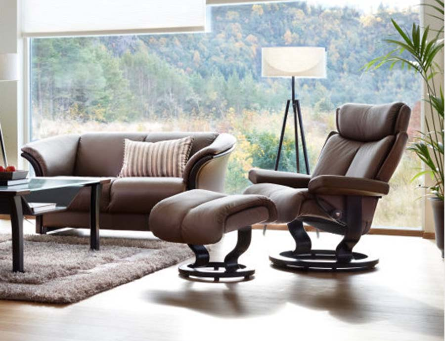 Stressless Magic recliner Paloma leather khaki Manhattan sofa & Stressless Magic recliner islam-shia.org