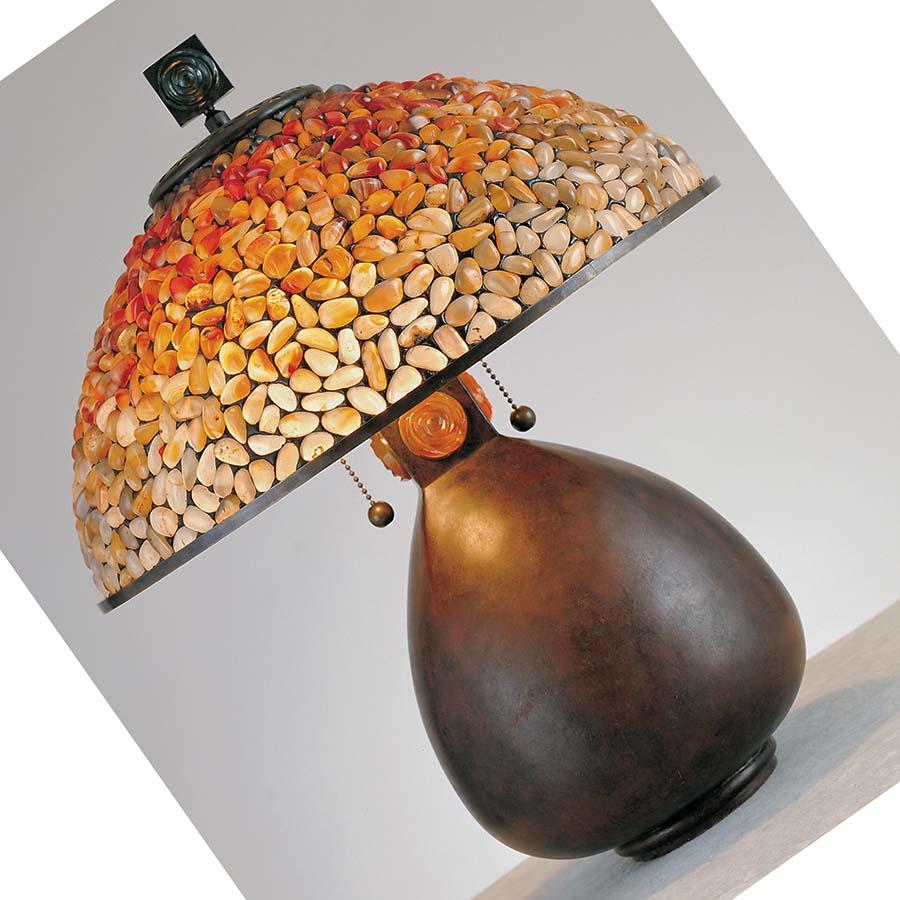 Pomez fat base agate stone lamp