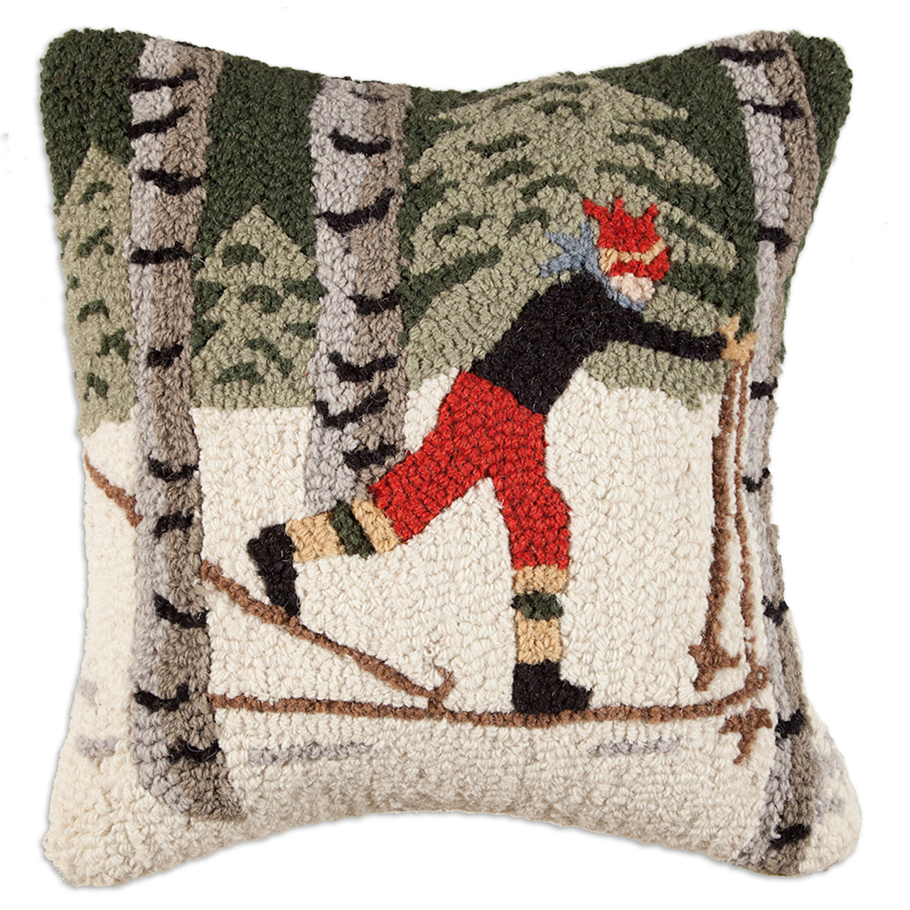 "Back Country Skier in Woods 18"" Wool Hooked Pillow"
