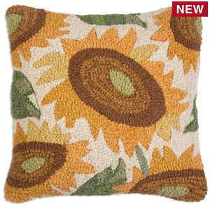 "Big Sunflower 18"" Wool Hooked Pillow"