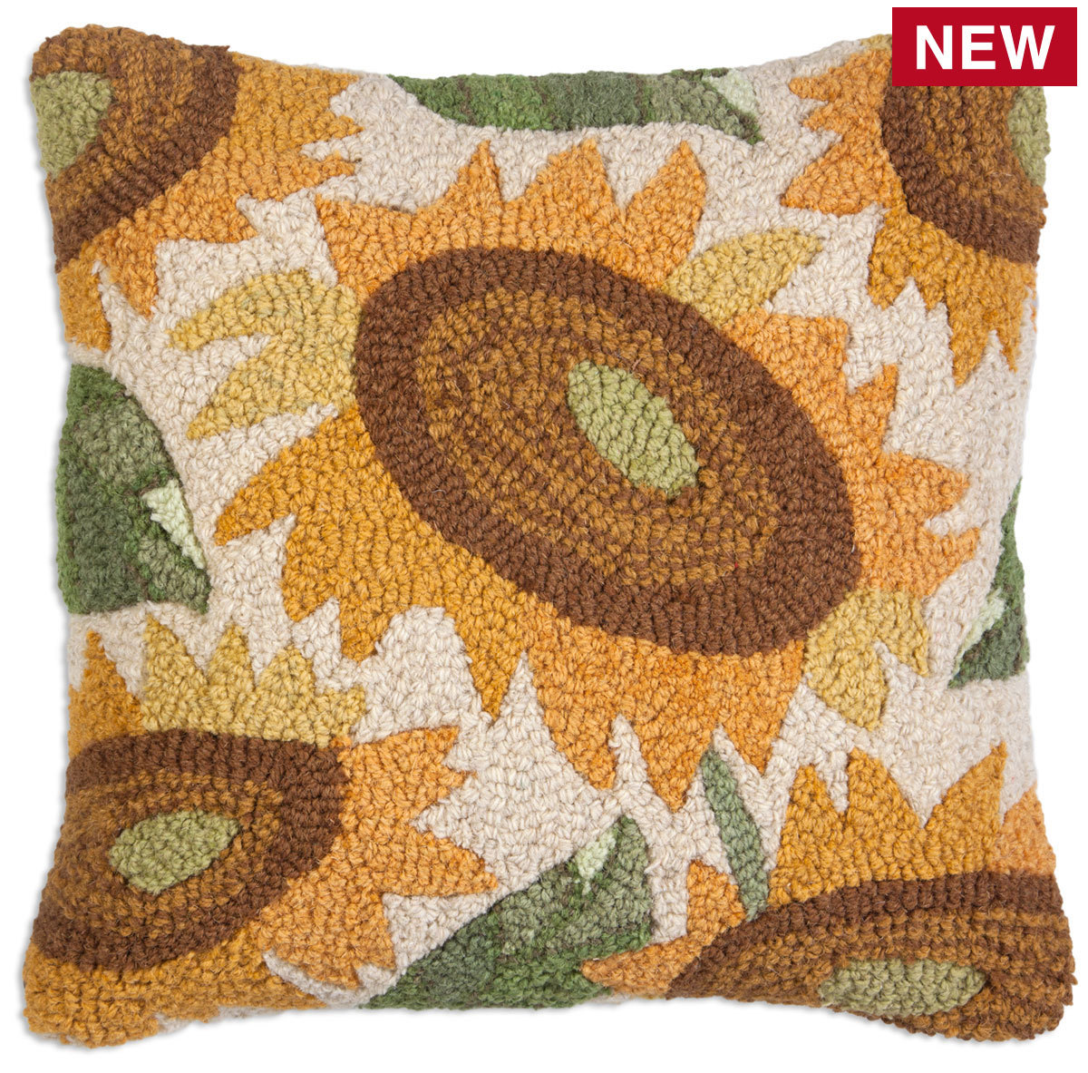 """Big Sunflower 18"""" Wool Hooked Pillow"""