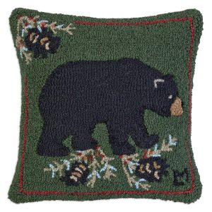 "Black Bear 18"" Wool Hooked Pillow"