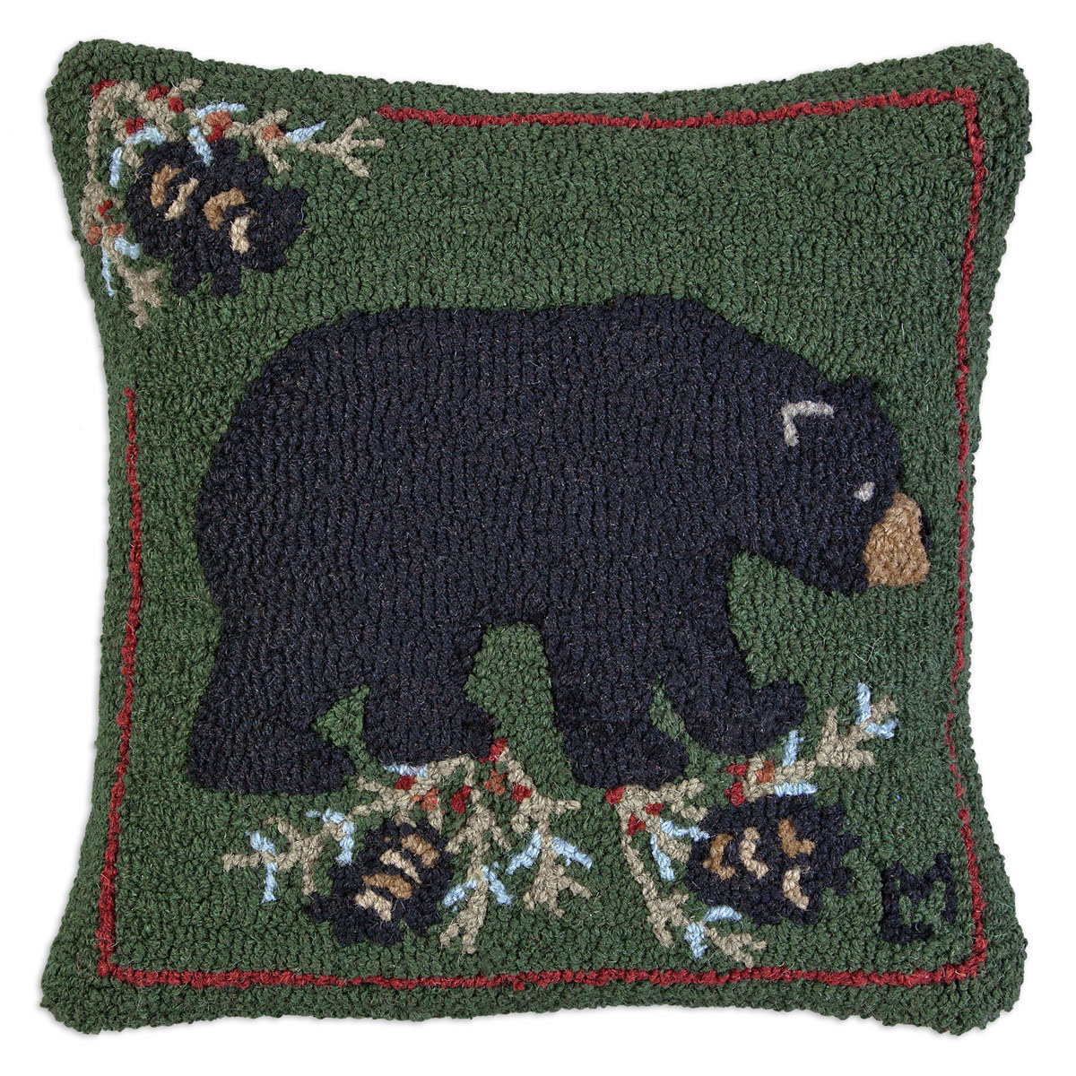 "Black Bear 18"" Wool Hooked Pillow"