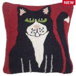 "Black Cat 18"" Wool Hooked Pillow"