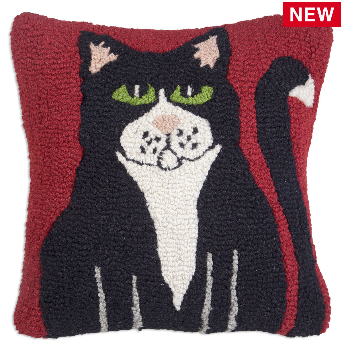 "Black Cat 18"" Wool Hooked Pillow"