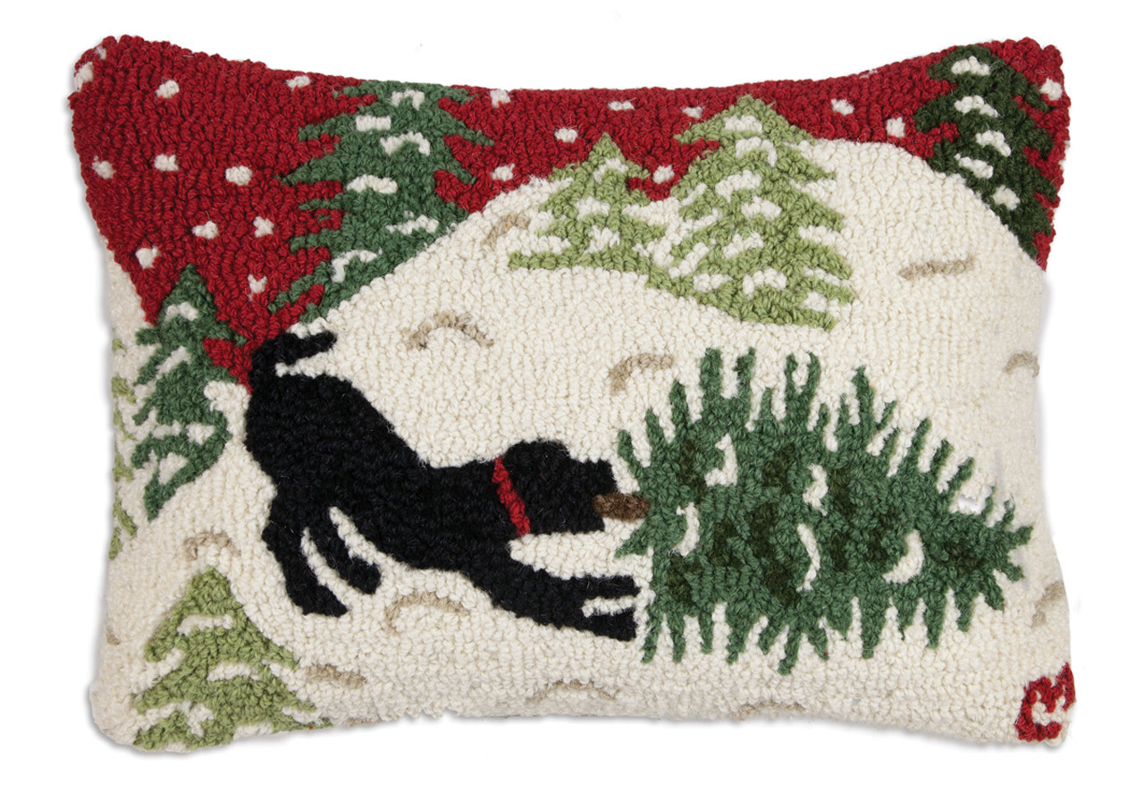 "Bringing Home Tree Red 14""x 20"" Wool Hooked Pillow"