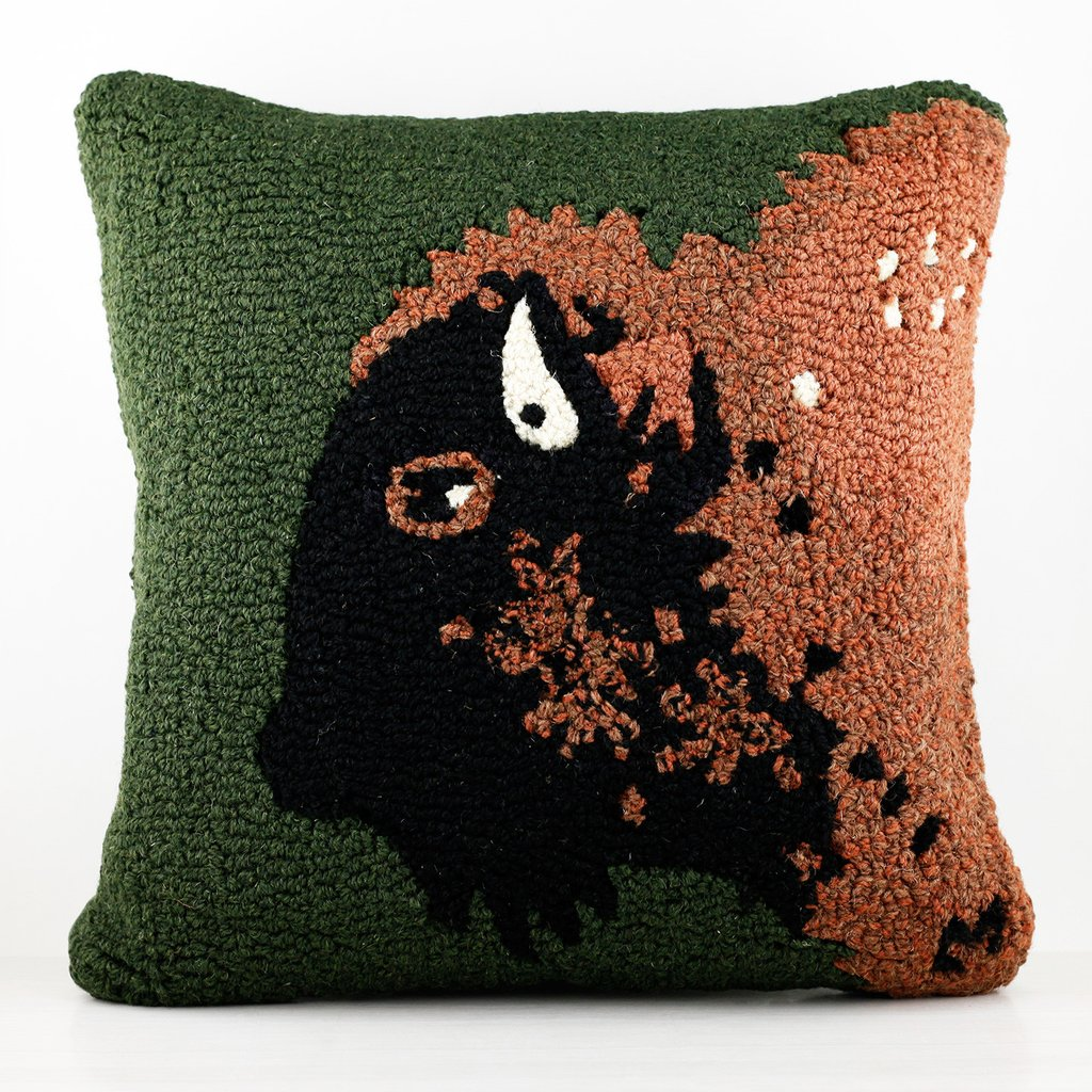 "Buffalo Head on Green 18"" Wool Hooked Pillow"