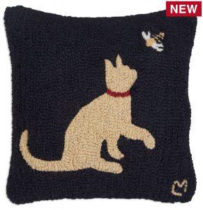 "Cat with Honeybee 18"" Wool Hooked Pillow"