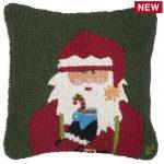 """Cheers Santa 18"""" Wool Hooked Pillow"""