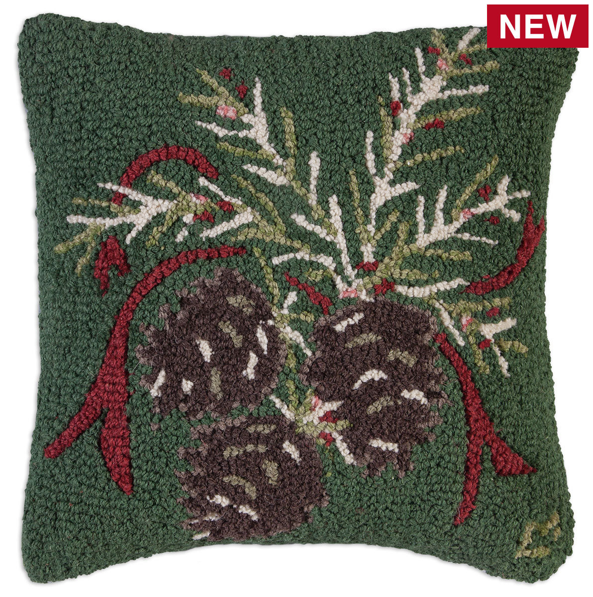 "Christmas Pinecone 18"" Wool Hooked Pillow"