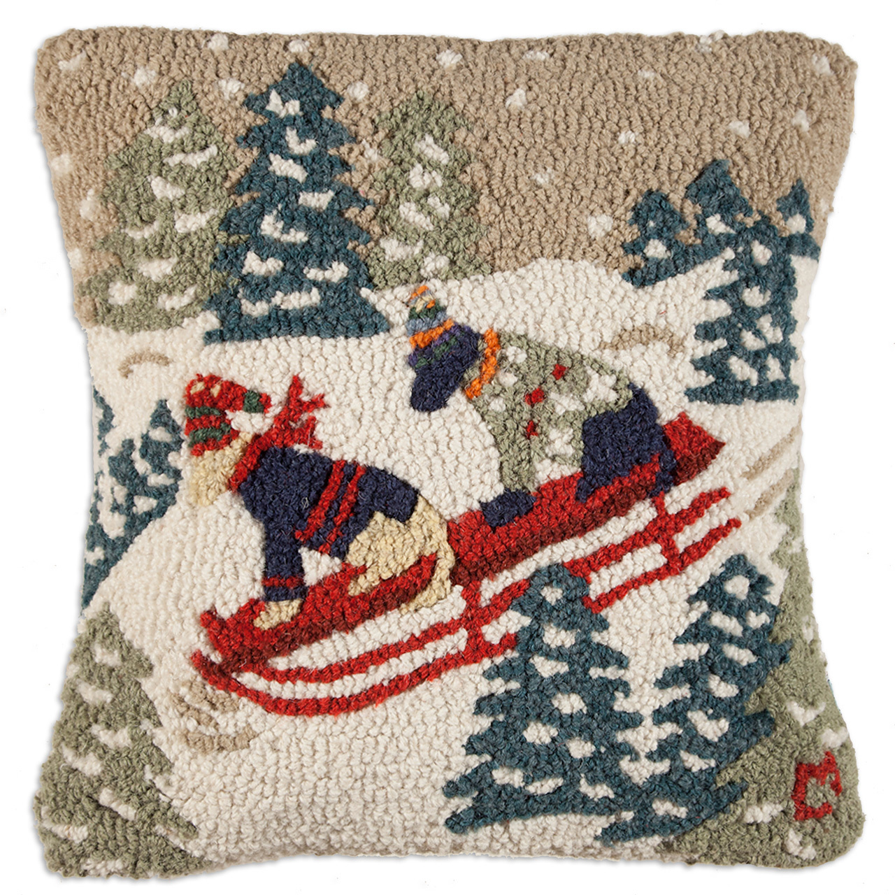 "Daring Dogs 18"" Wool Hooked Pillow"