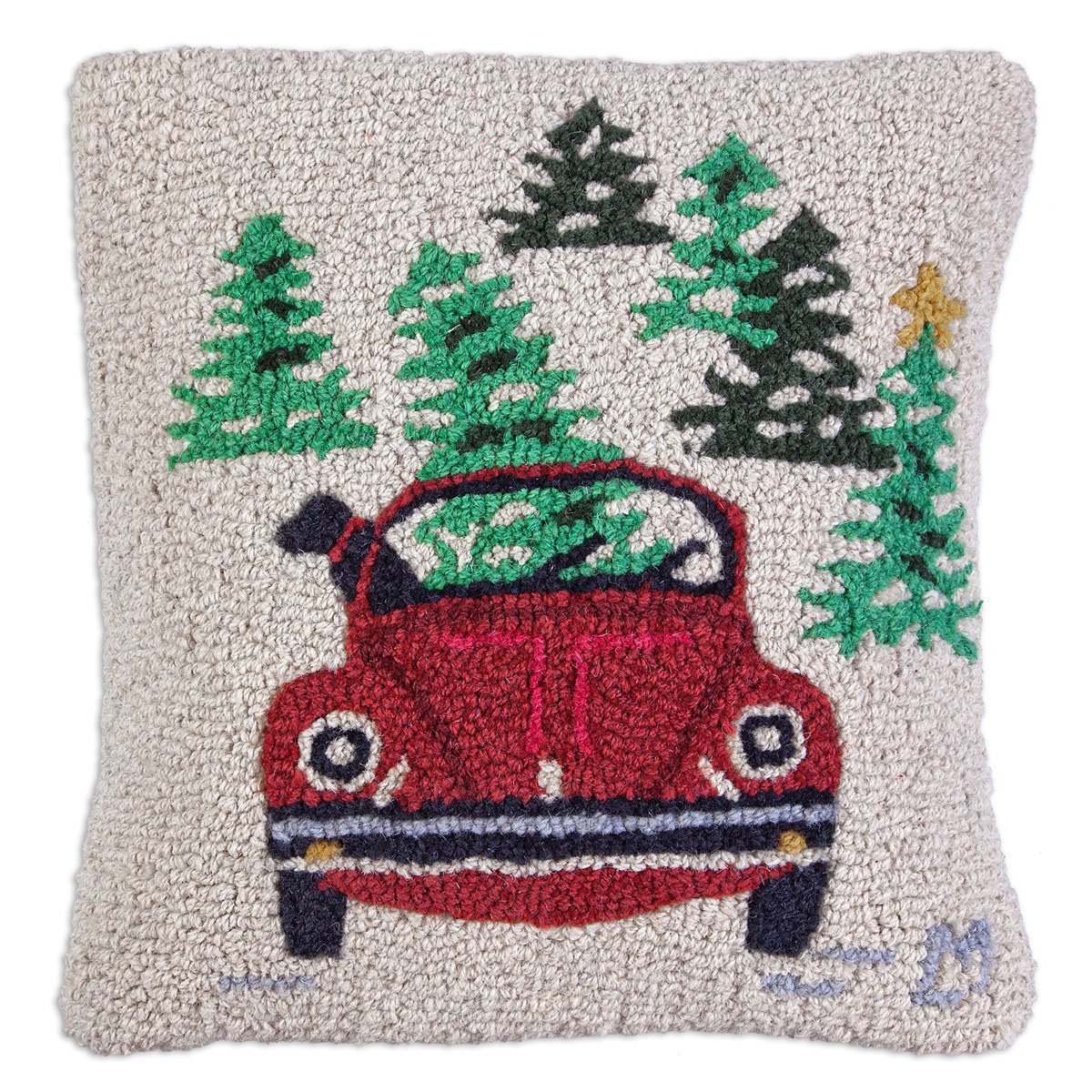 "Dog with VW 18"" Wool Hooked Pillow"