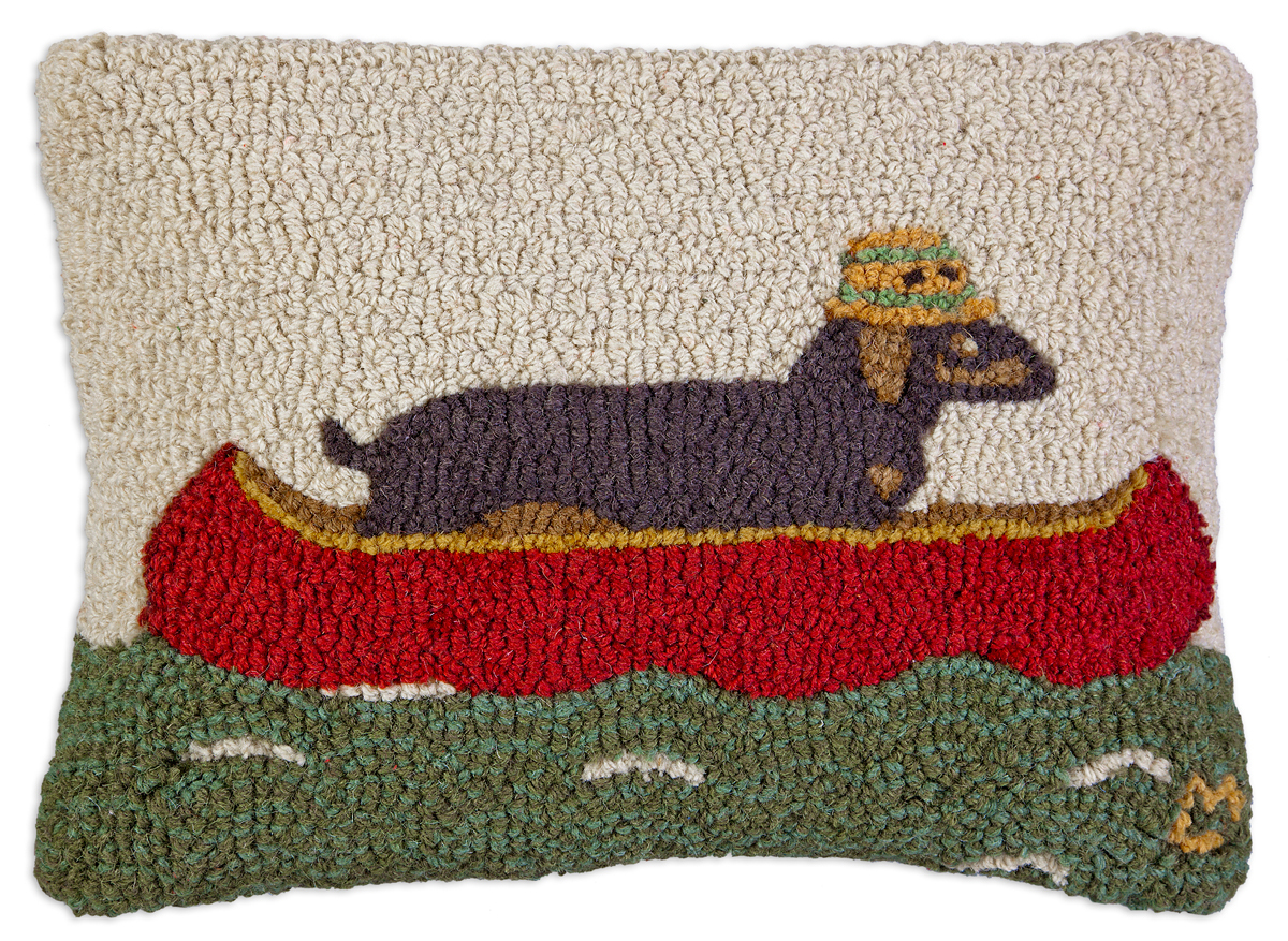 "Downstream Dachshund 18"" Wool Hooked Pillow"
