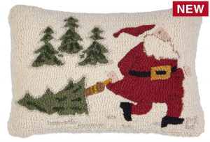 "Dragging Home Tree 14"" x 20"" Wool Hooked Pillow"