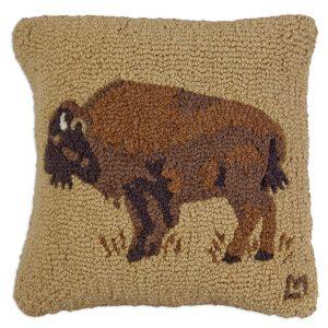 """Golden Buffalo 18"""" Wool Hooked Pillow"""