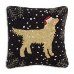 "Golden Christmas Retriever 18"" Wool Hooked Pillow"
