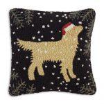 """Golden Christmas Retriever 18"""" Wool Hooked Pillow"""