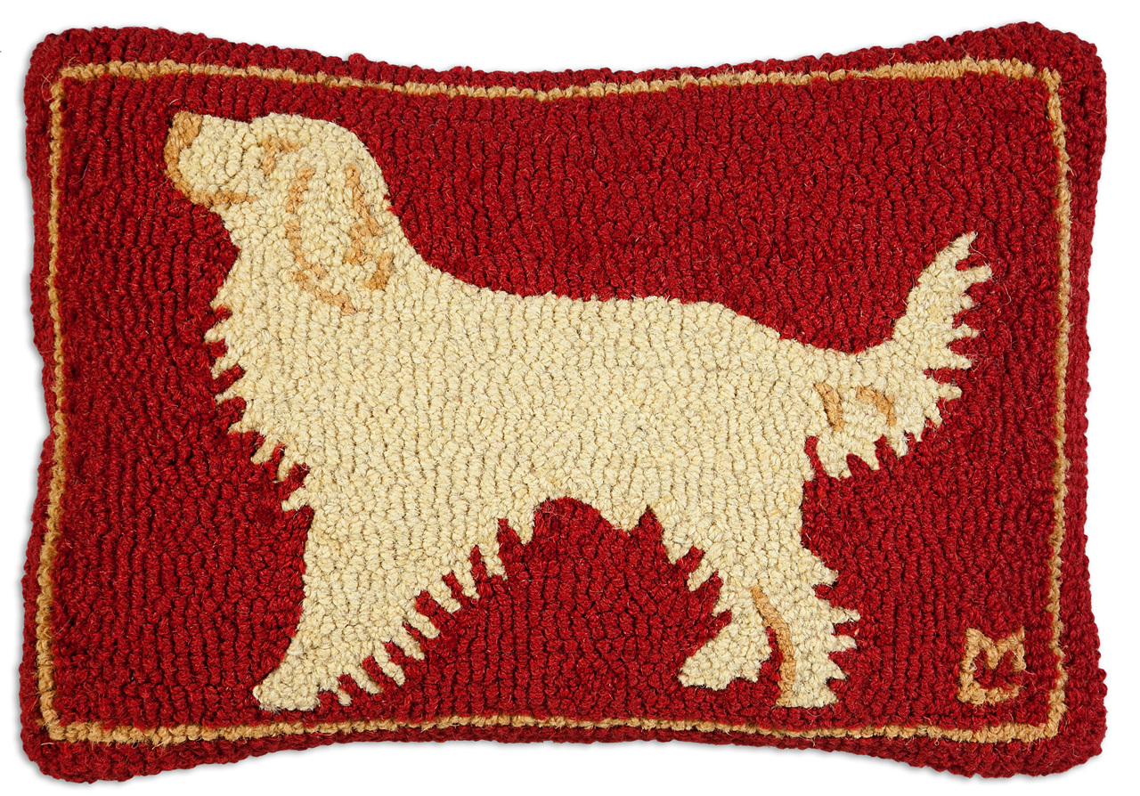 "Golden Guy Retriever on Red 14"" x 20"" Wool Hooked Pillow"