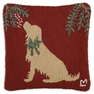 "Golden Mistletoe 18"" Wool Hooked Pillow"
