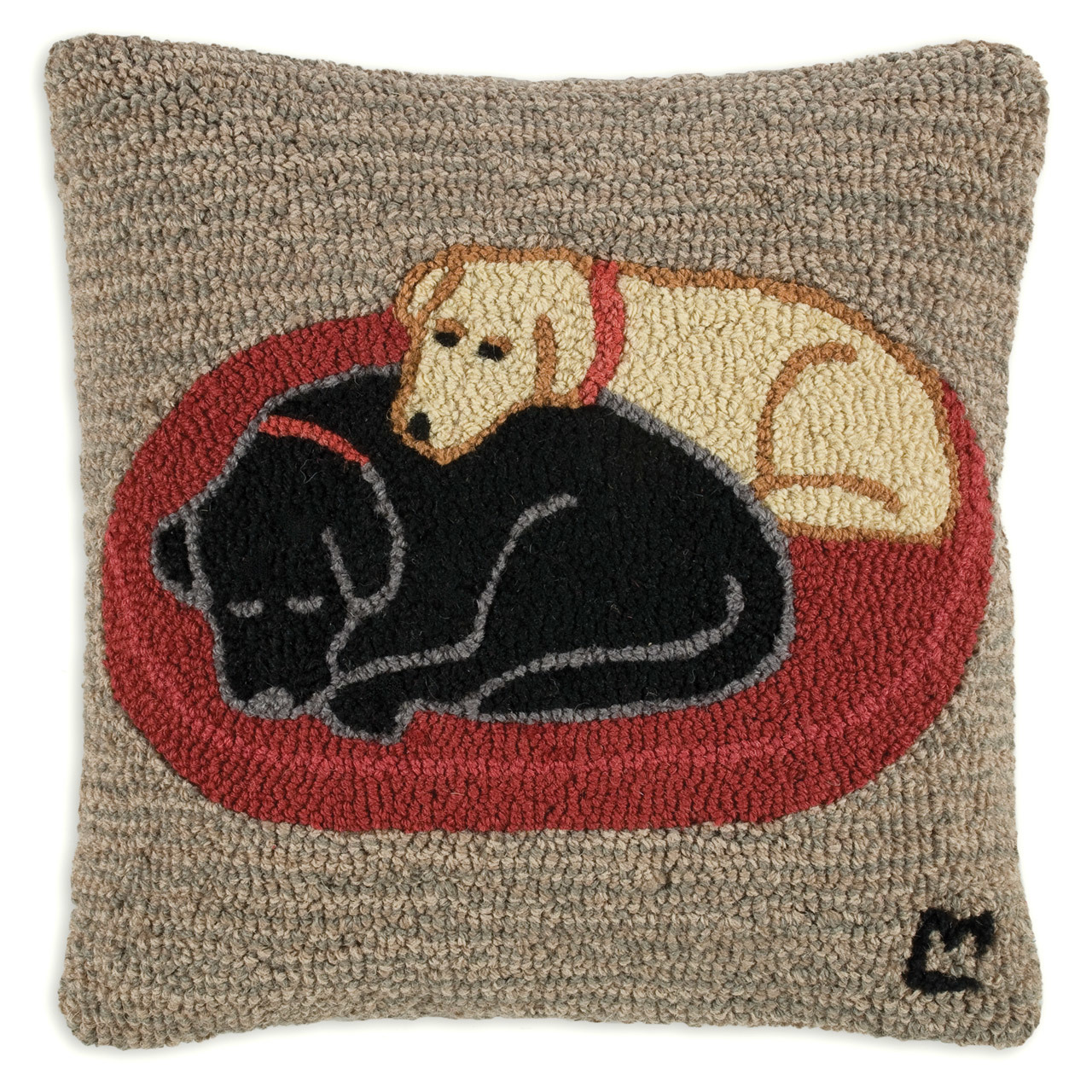"Jack and Jill 18"" Wool Hooked Pillow"
