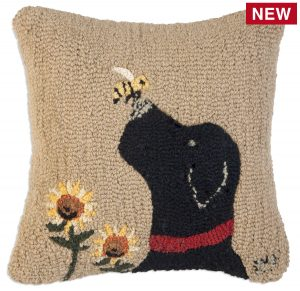 """Lab with Bee 18"""" Wool Hooked Pillow"""