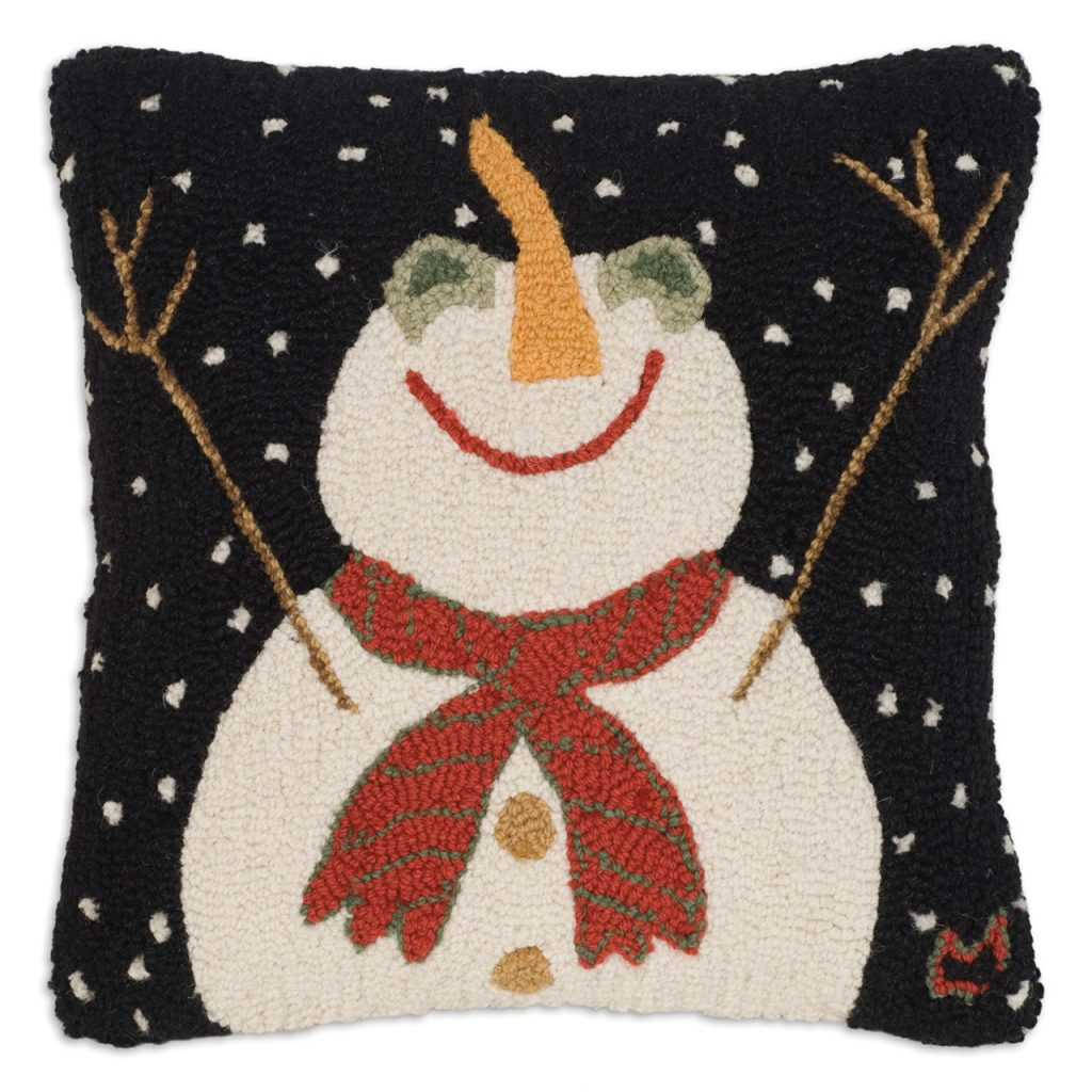 """Let it Snow-Man! 18"""" Wool Hooked Pillow"""