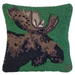 "Major Moose on Green 18"" Wool Hooked Pillow"