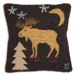 "Night Moose 18"" Wool Hooked Pillow"
