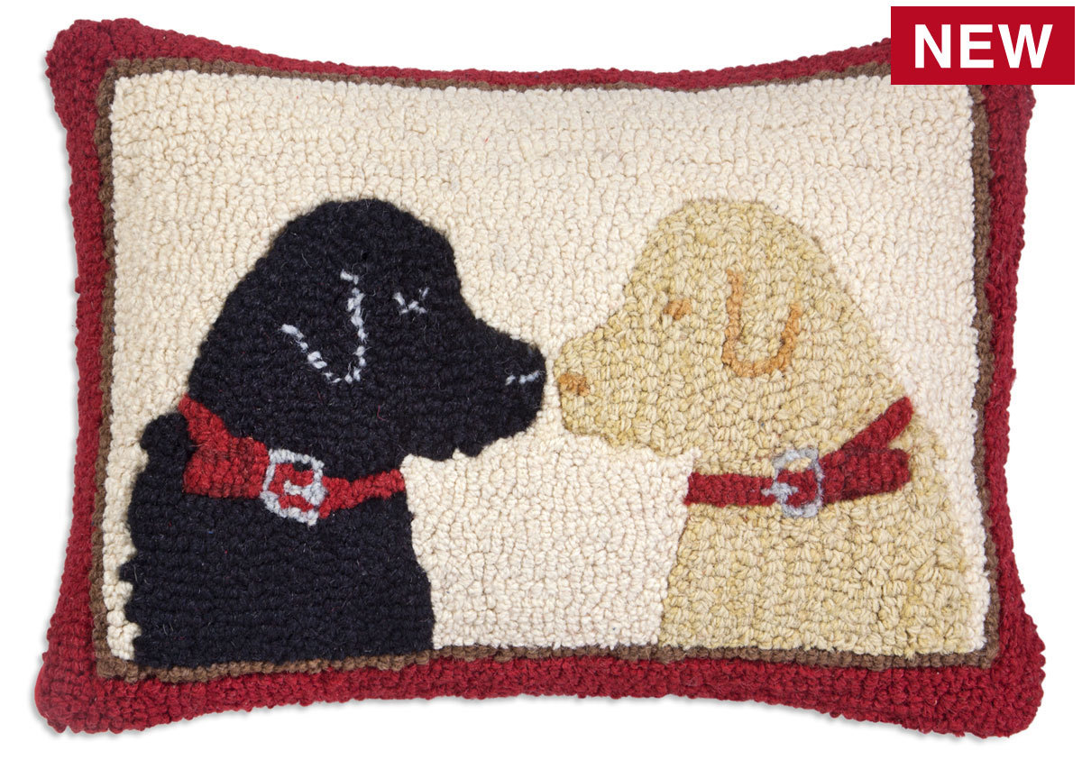 "Pet Lovers 2 Labs 14"" x 20"" Wool Hooked Pillow"
