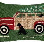 "Red Woody Wagon 14"" x 20"" Wool Hooked Pillow"
