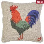"Rooster Coop Charlie Facing Left 18"" Wool Hooked Pillow"