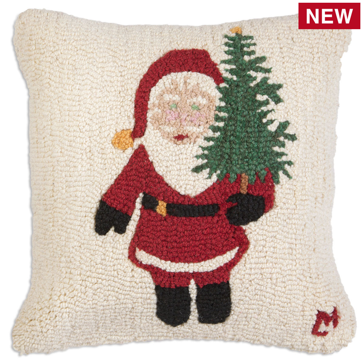 "Santa with a Tree 18"" Wool Hooked Pillow"
