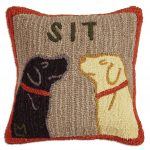 "Sit 18"" Wool Hooked Pillow"