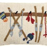 """Ski Rack 14"""" x 20"""" Wool Hooked Pillow"""