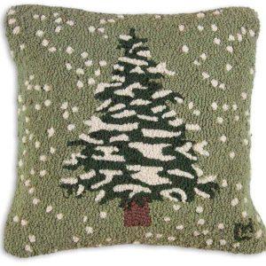 "Snow Flurries-Tree 18"" Wool Hooked Pillow"