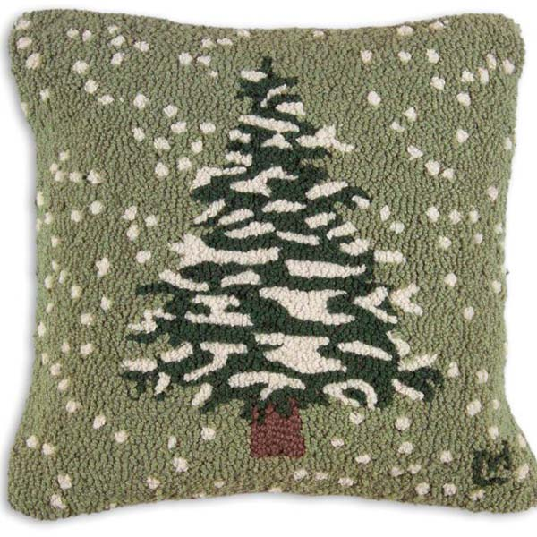 "Snow Flurries-Tree 18"" Wool Hooked Pillow"