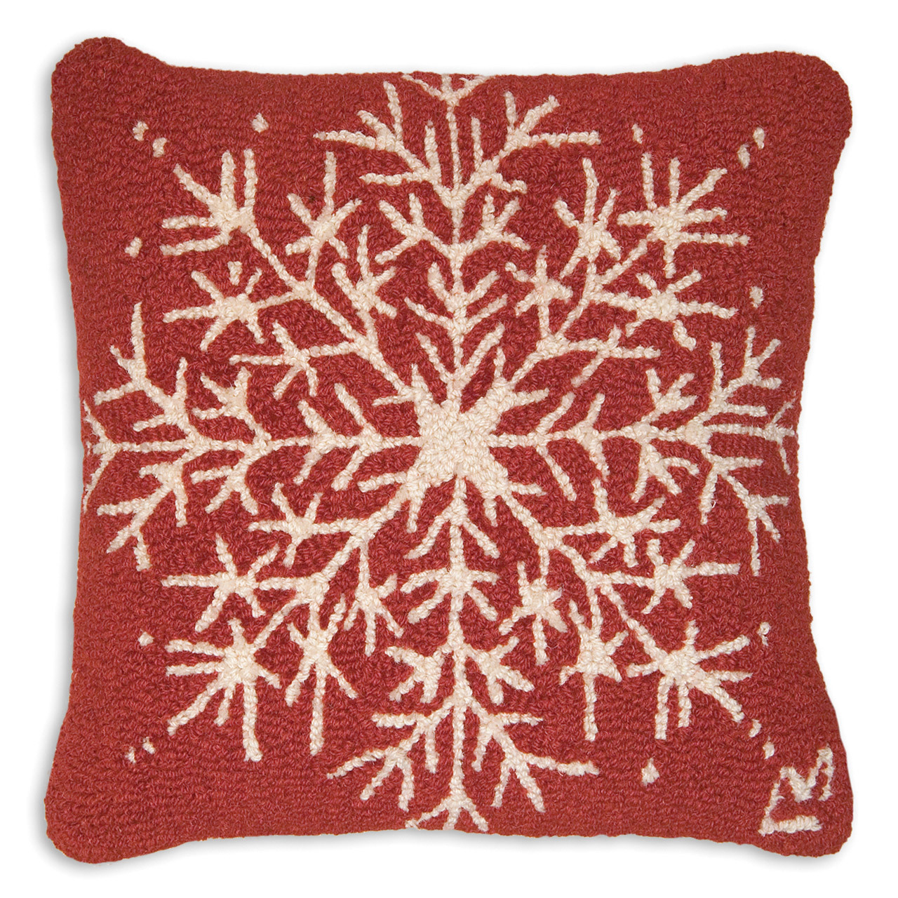 "Snowflake 18"" Wool Hooked Pillow"