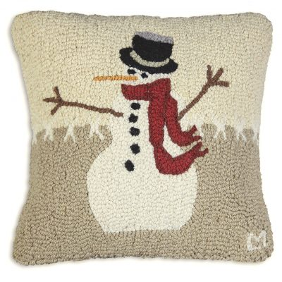 "Snowman in Stitches 18"" Wool Hooked Pillow"