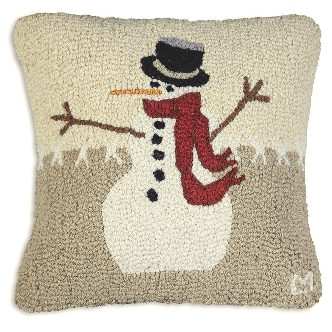 """Snowman in Stitches 18"""" Wool Hooked Pillow"""