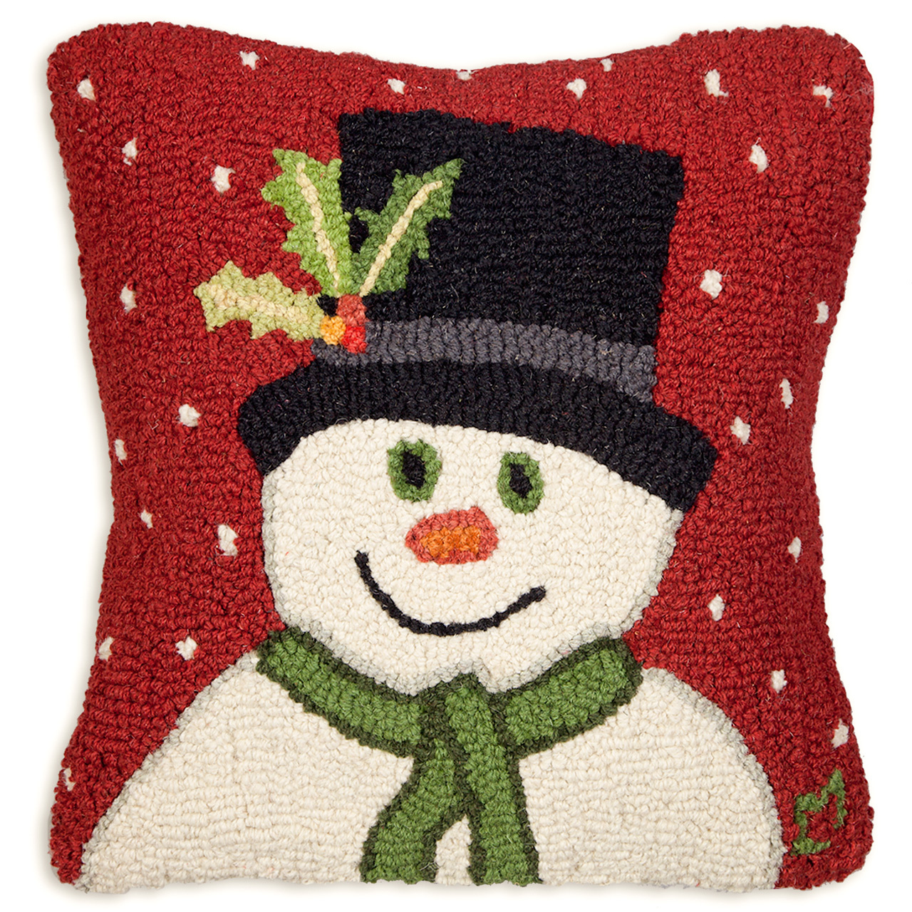 """Snowman with Top Hat 18"""" Wool Hooked Pillow"""