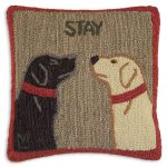 "Stay There 18"" Wool Hooked Pillow"