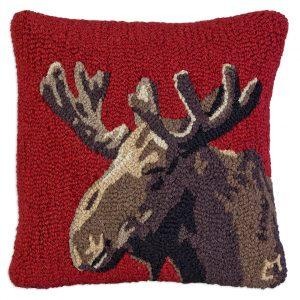 """Velvet Moose on Red 18"""" Wool Hooked Pillow"""