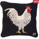 "White Hen on Black 18"" Wool Hooked Pillow"