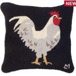 "White Hen on Black 18"" Wool Hooked Pillow"