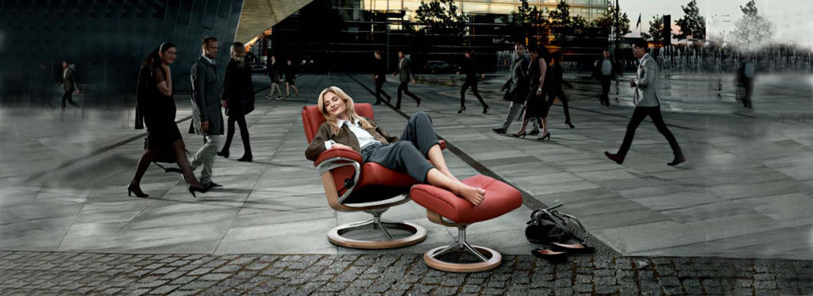 stressless nordic recliner in front of a modern building