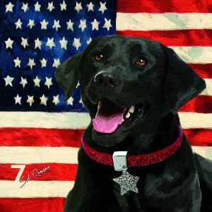 Black Lab American Flag