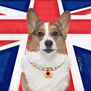 Corgi Poppa-Artzee throw pillow