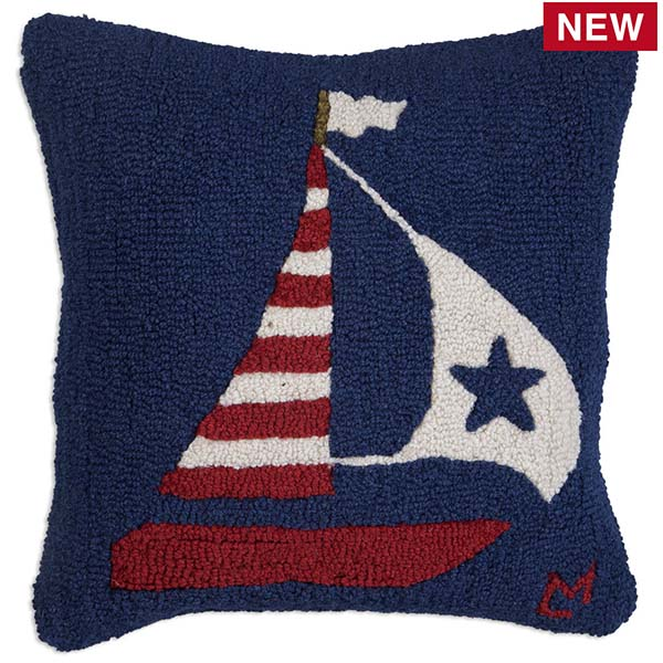 US Flag Boat throw pillow